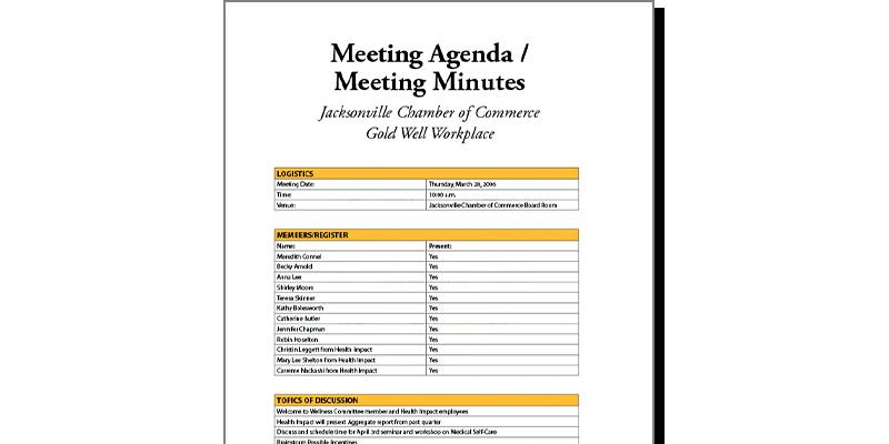 Wellness Team Meeting Agenda Example WELCOA – Team Meeting Agenda
